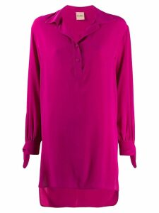 Nude silk tie-cuff blouse - PINK