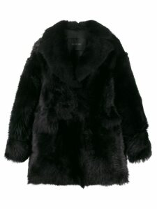 Blancha shearling short coat - Black