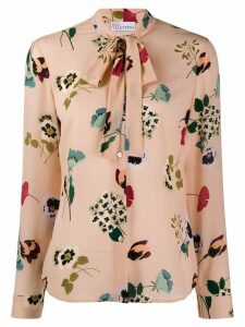 Red Valentino tied-neck floral print blouse - NEUTRALS