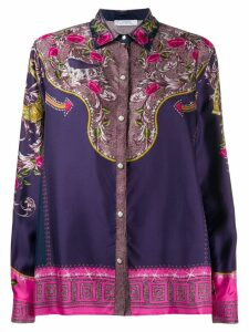 Versace Collection silk floral print shirt - Blue
