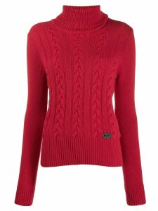 be blumarine roll neck cable knit sweater - Red