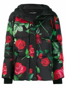 Dolce & Gabbana hooded floral-print down jacket - Black