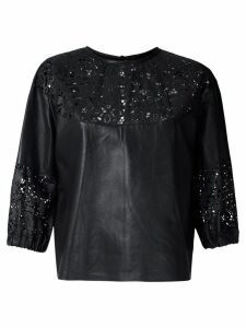 Andrea Bogosian cut out pattern leather blouse - Black