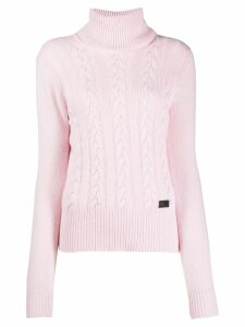 be blumarine roll neck cable knit sweater - Pink