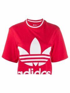 adidas logo print cropped T-shirt - PINK
