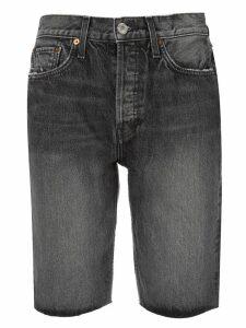 Re/Done stonewashed denim shorts - Black