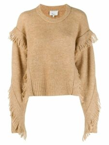 3.1 Phillip Lim Cropped Fringe Sleeve Sweater - NEUTRALS