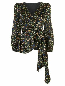 Cynthia Rowley mila silk wrap blouse - Black