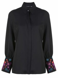 Natori embroidered long-sleeved shirt - Black