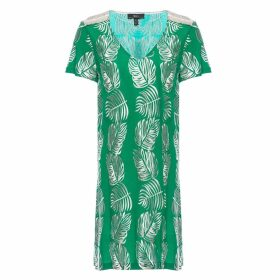 Nissa - Viscose Long Top With Leaves Print