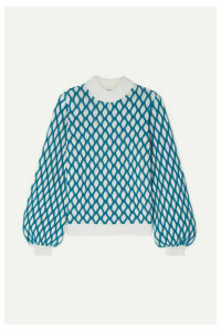Stine Goya - Carlo Two-tone Cable-knit Wool-blend Sweater - Sky blue