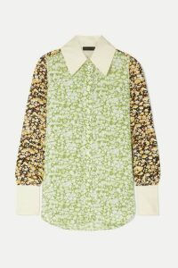 Stine Goya - James Oversized Floral-print Crepe Shirt - Lime green