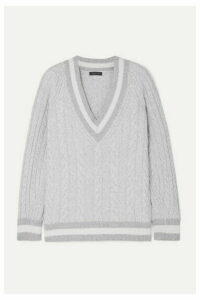 rag & bone - Theon Oversized Striped Cable-knit Merino Wool Sweater - Gray
