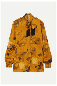 Mother of Pearl - Leandra Fringed Pussy-bow Floral-print Satin Shirt - Saffron