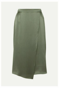 Vince - Wrap-effect Draped Silk-satin Skirt - Army green