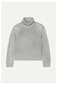 RtA - Mick Metallic Knitted Turtleneck Sweater - Silver
