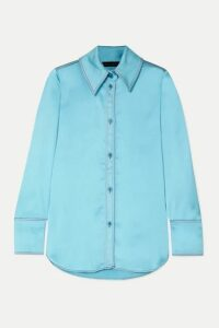Stine Goya - James Oversized Satin Shirt - Sky blue