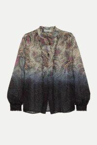 Etro - Dégradé Paisley-print Fil Coupé Silk-blend Chiffon Blouse - Beige
