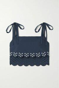 Ulla Johnson - Arden Smocked Embroidered Cotton-poplin Blouse - Midnight blue