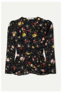 Veronica Beard - Kiona Floral-print Silk-georgette Wrap Blouse - Black
