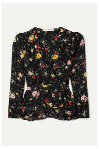 Veronica Beard - Kiona Floral-print Silk-georgette Wrap Blouse - Black