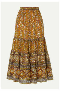Ulla Johnson - Thea Printed Fil Coupé Silk And Lurex-blend Midi Skirt - Brown