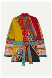 Etro - Belted Wool-blend Jacquard Cardigan - Orange