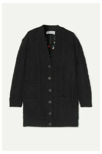 REDValentino - Embroidered Cable-knit Wool Cardigan - Black