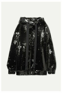 Marques' Almeida - Oversized Sequined Tulle Hoodie - Silver