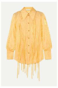 REJINA PYO - Lana Fringed Metallic Crinkled-organza Shirt - Pastel yellow