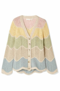 LoveShackFancy - Deena Striped Alpaca-blend Cardigan - Cream