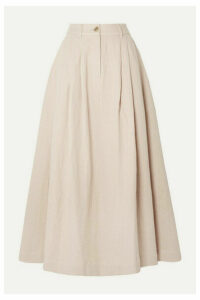 Mara Hoffman - Tulay Pleated Organic Cotton And Linen-blend Midi Skirt - Baby pink
