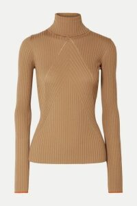 Victoria Beckham - Paneled Ribbed Wool Turtleneck Sweater - Camel