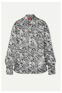 Commission - Banker Zebra-print Satin Shirt - Black