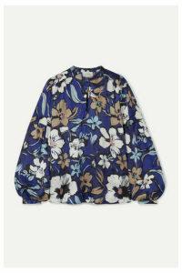 MUNTHE - Hanifa Floral-print Satin Blouse - Indigo