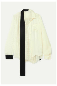 Sacai - Asymmetric Velvet-trimmed Paneled Chiffon And Satin Blouse - White