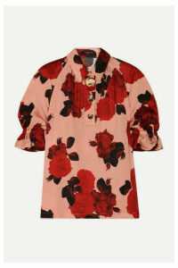 Mother of Pearl - Petra Embellished Floral-print Ruched Satin Blouse - Pink