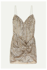 Magda Butrym - Deva Twisted Embellished Sequined Satin Mini Dress - Beige