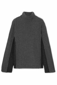 Maison Margiela - Paneled Ribbed Wool-blend Turtleneck Sweater - Charcoal
