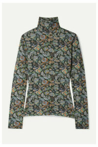 See By Chloé - Floral-print Stretch-jersey Turtleneck Top - Green