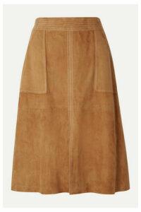 FRAME - Paneled Suede Skirt - Camel