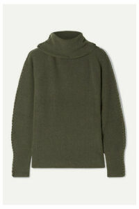 Altuzarra - Shakti Braid-trimmed Ribbed Cashmere Turtleneck Sweater - Army green