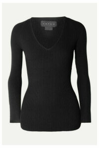 HATCH - The Zoe Ribbed-knit Top - Black