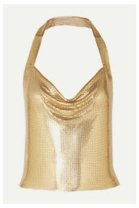 Fannie Schiavoni - Tove Open-back Chainmail Halterneck Top - Gold