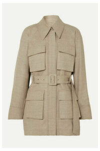 LOW CLASSIC - Belted Mélange Wool-blend Jacket - Beige