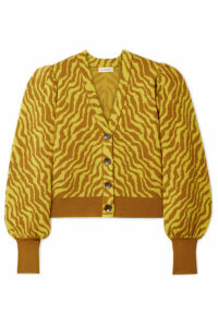 Ulla Johnson - Cici Cropped Zebra-intarsia Merino Wool Cardigan - Bright yellow
