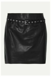 BLOUSE - Belted Leather Mini Skirt - Black