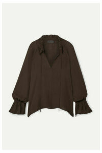 Nili Lotan - Royan Ruffled Silk-chiffon Blouse - Dark brown