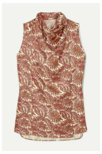 Adam Lippes - Draped Printed Silk-twill Top - Brick