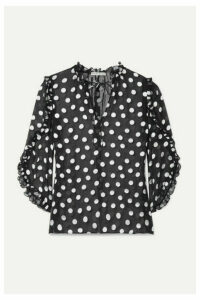 Alice + Olivia - Julius Ruffled Polka-dot Fil Coupé Silk-blend Chiffon Blouse - Black